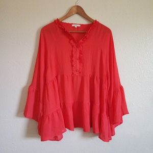 Easel Tiered Bell Sleeve Top Size Medium